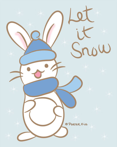 Let it snow - bunny with snowball