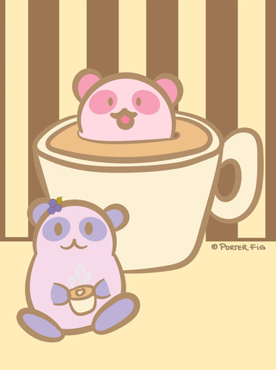 Playful pandas coffee break